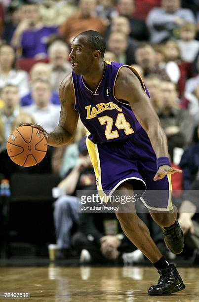 Kobe Bryant of the Los Angeles Lakers dribbles the ball against the Portland Trailblazers on November 8 2006 at the Rose Garden in Portland Oregon...