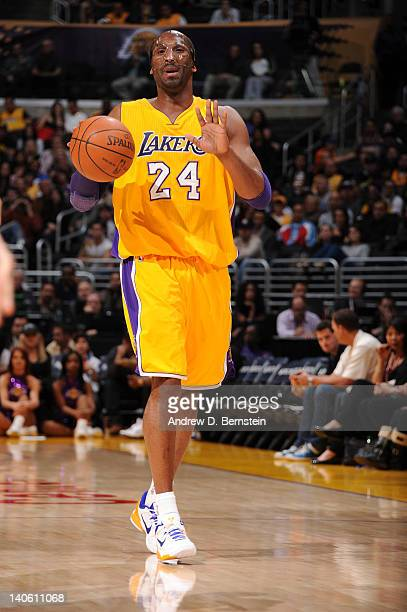 Kobe Bryant of the Los Angeles Lakers dribbles the ball during a game against the Sacramento Kings at Staples Center on March 2 2012 in Los Angeles...