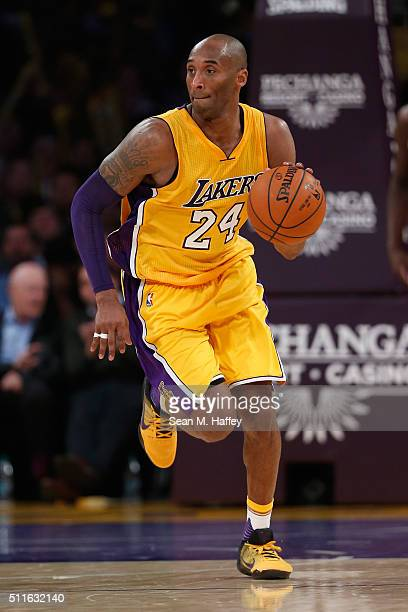 Kobe Bryant of the Los Angeles Lakers dribbles the ball during the second half of a game against the San Antonio Spurs at Staples Center on February...