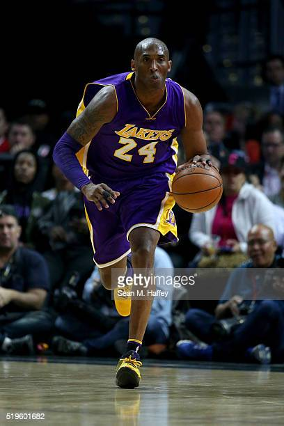 Kobe Bryant of the Los Angeles Lakers dribbles upcourt during an NBA game between Los Angeles Clippers vs Los Angeles Lakers April 5 2016 at Staples...