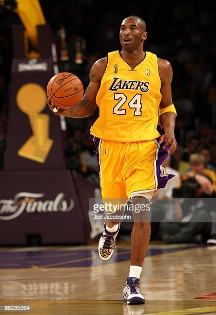 Kobe Bryant of the Los Angeles Lakers dribbles with the ball against the Orlando Magic in Game One of the 2009 NBA Finals at Staples Center on June 4...