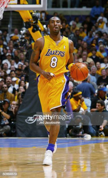 Kobe Bryant of the Los Angeles Lakers drives against the Detroit Pistons in Game two of the 2004 NBA Finals at Staples Center on June 8 2004 in Los...