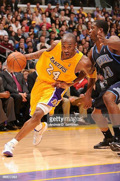 Kobe Bryant of the Los Angeles Lakers drives against Wesley Matthews of the Utah Jazz during the game on April 2 2010 at Staples Center in Los...
