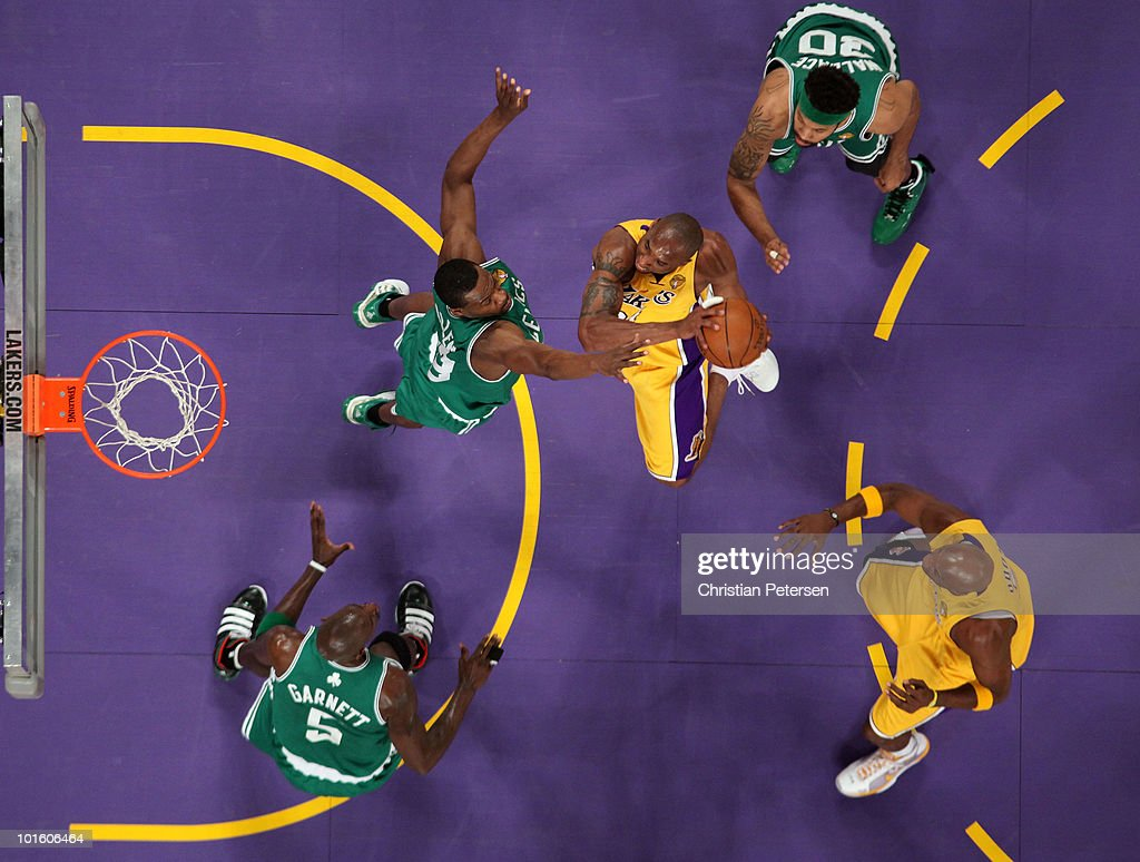 Kobe Bryant #24 of the Los Angeles Lakers drives for a shot attempt against Kevin Garnett #5, Tony Allen #42 and Rasheed Wallace #30 of the Boston Celtics in Game One of the 2010 NBA Finals at Staples Center on June 3, 2010 in Los Angeles, California. The Lakers won 102-89.