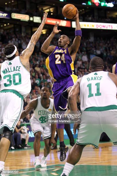 Kobe Bryant of the Los Angeles Lakers drives for a shot attempt against the Boston Celltics during Game Four of the 2010 NBA Finals on June 10, 2010...