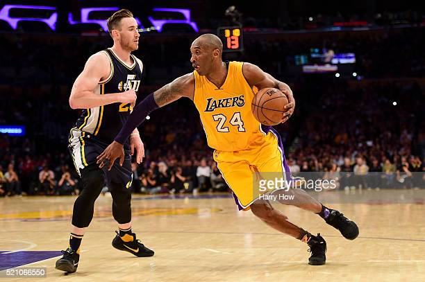 Kobe Bryant of the Los Angeles Lakers drives on Gordon Hayward of the Utah Jazz in the fourth quarter at Staples Center on April 13, 2016 in Los...