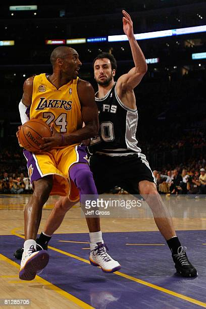 Kobe Bryant of the Los Angeles Lakers drives on Manu Ginobili of the San Antonio Spurs in the first quarter of Game Five of the Western Conference...