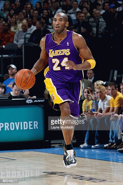 Kobe Bryant of the Los Angeles Lakers drives the ball up court during the game against the Oklahoma City Thunder on February 24 2009 at the Ford...