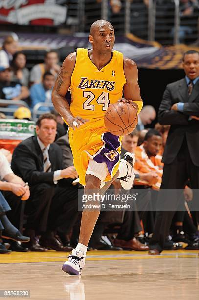 Kobe Bryant of the Los Angeles Lakers drives the ball up court during the game against the Phoenix Suns on February 26 2009 at Staples Center in Los...
