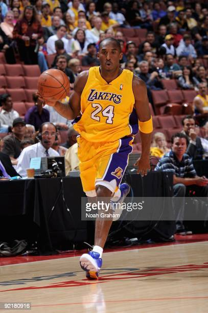 Kobe Bryant of the Los Angeles Lakers drives the ball up court during the preseason game against the Golden State Warriors on October 7, 2009 at...