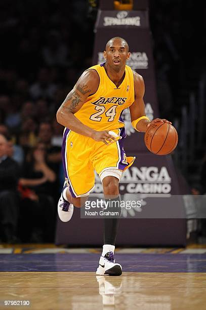 Kobe Bryant of the Los Angeles Lakers drives the ball upcourt against the Charlotte Bobcats during the game on February 3 2010 at Staples Center in...