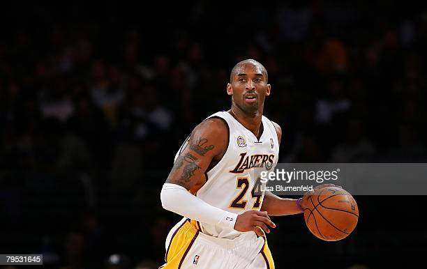 Kobe Bryant of the Los Angeles Lakers drives the ball upcourt during the game against the Cleveland Cavaliers at Staples Center on January 27, 2008...