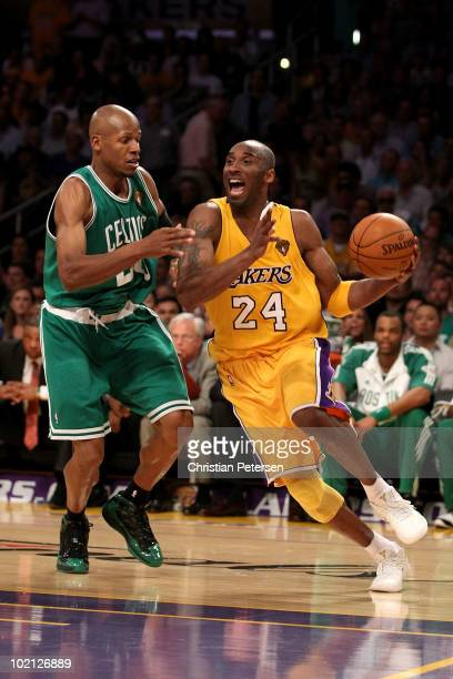 Kobe Bryant of the Los Angeles Lakers drives to the basket against Ray Allen of the Boston Celtics in Game Six of the 2010 NBA Finals at Staples...