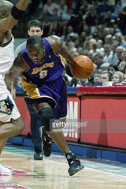 Kobe Bryant of the Los Angeles Lakers drives to the basket against the Minnesota Timberwolves in Game two of the Western Conference Quarterfinals...
