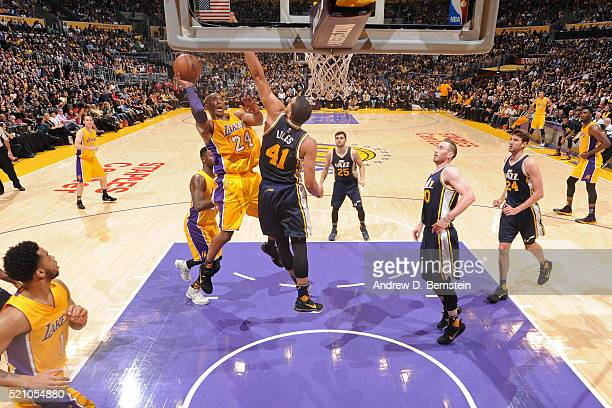 Kobe Bryant of the Los Angeles Lakers drives to the basket against the Utah Jazz on April 13, 2016 at Staples Center in Los Angeles, California. NOTE...