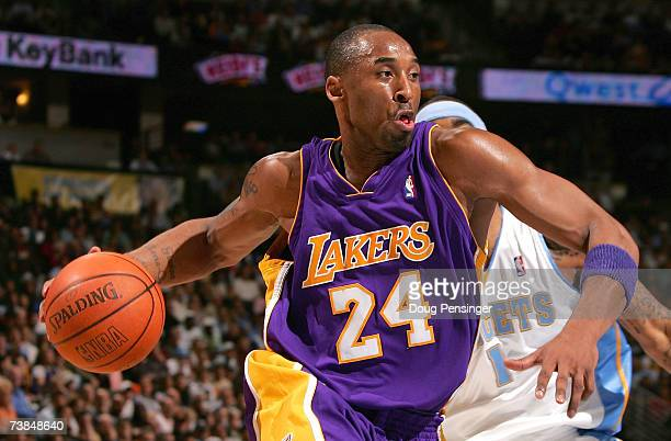 Kobe Bryant of the Los Angeles Lakers drives to the basket against the Denver Nuggets as the Nuggets defeated the Lakers 115111 at the Pepsi Center...