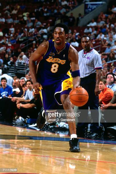 Kobe Bryant of the Los Angeles Lakers drives towards the basket against the Philadelphia 76ers during game four of the 2001 NBA Finals played June 13...