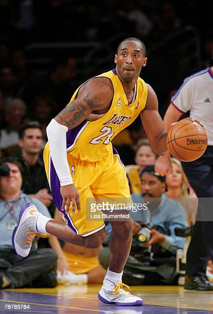 Kobe Bryant of the Los Angeles Lakers drives upcourt during the game against the Philadelphia 76ers at Staples Center on January 4 2008 in Los...
