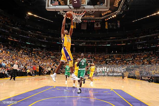Kobe Bryant of the Los Angeles Lakers dunks against the Boston Celtics in Game One of the 2010 NBA Finals on June 3 2010 at Staples Center in Los...
