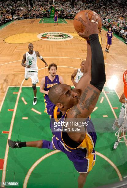 Kobe Bryant of the Los Angeles Lakers dunks against the Boston Celtics in Game One of the 2008 NBA Finals on June 5 2008 at the TD Banknorth Garden...