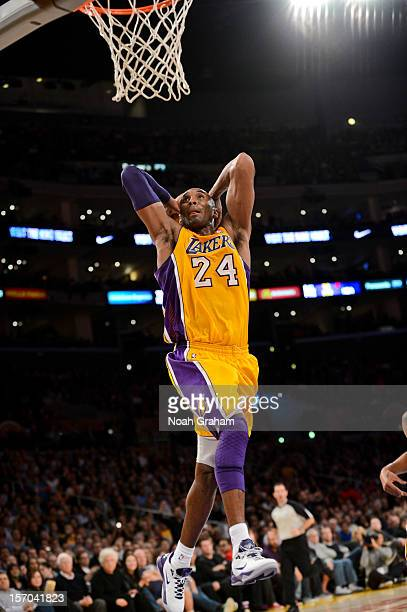 Kobe Bryant of the Los Angeles Lakers dunks against the Indiana Pacers at Staples Center on November 27 2012 in Los Angeles California NOTE TO USER...