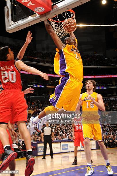 Kobe Bryant of the Los Angeles Lakers dunks against the New Jersey Nets at Staples Center on January 14 2011 in Los Angeles California NOTE TO USER...
