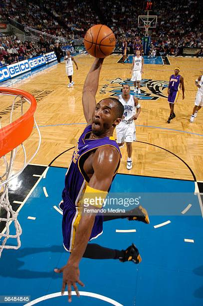 Kobe Bryant of the Los Angeles Lakers dunks against the Orlando Magic December 23, 2005 at TD Waterhouse Centre in Orlando, Florida. NOTE TO USER:...