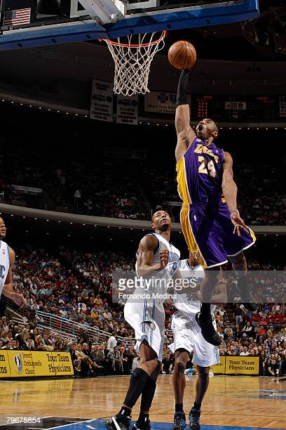 Kobe Bryant of the Los Angeles Lakers dunks against the Orlando Magic at Amway Arena on February 8 2008 in Orlando Florida NOTE TO USER User...