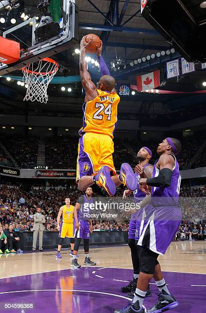 Kobe Bryant of the Los Angeles Lakers dunks against the Sacramento Kings on January 7 2016 at Sleep Train Arena in Sacramento California NOTE TO USER...