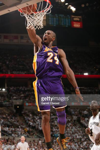 Kobe Bryant of the Los Angeles Lakers dunks against the San Antonio Spurs in Game Three of the Western Conference Finals during the 2008 NBA Playoffs...
