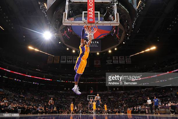 Kobe Bryant of the Los Angeles Lakers dunks against the Utah Jazz at Staples Center on January 25 2013 in Los Angeles California NOTE TO USER User...