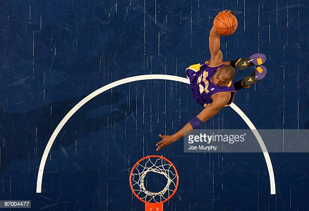 Kobe Bryant of the Los Angeles Lakers dunks in a game against the Memphis Grizzlies on February 23, 2010 at FedExForum in Memphis, Tennessee. NOTE TO...