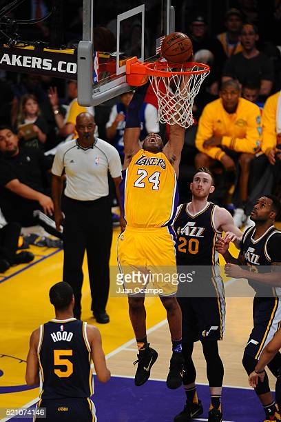 Kobe Bryant of the Los Angeles Lakers dunks the ball against the Utah Jazz on April 13 2016 at Staples Center in Los Angeles California NOTE TO USER...