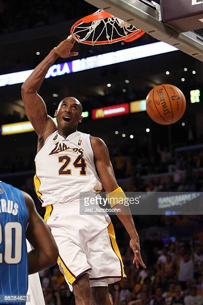 Kobe Bryant of the Los Angeles Lakers dunks the ball in the third quarter against the Orlando Magic in Game Two of the 2009 NBA Finals at Staples...