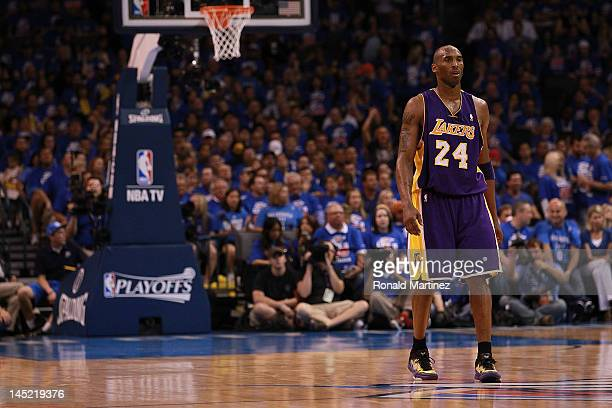Kobe Bryant of the Los Angeles Lakers during Game Five of the Western Conference Semifinals of the 2012 NBA Playoffs at Chesapeake Energy Arena on...