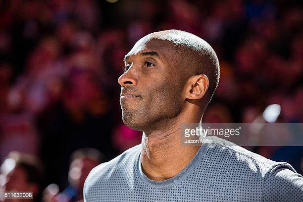 Kobe Bryant of the Los Angeles Lakers during player introductions prior to the game against the Cleveland Cavaliers at Quicken Loans Arena on...