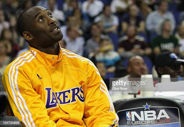 Kobe Bryant of the Los Angeles Lakers during the NBA Europe Live match between the Los Angeles Lakers and the Minnesota Timberwolves at the O2 arena...