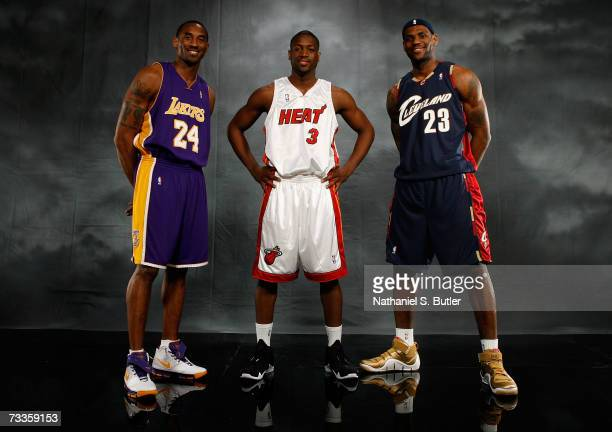 Kobe Bryant of the Los Angeles Lakers Dwyane Wade of the Miami Heat and LeBron James of the Cleveland Cavaliers pose for a portrait on AllStar...