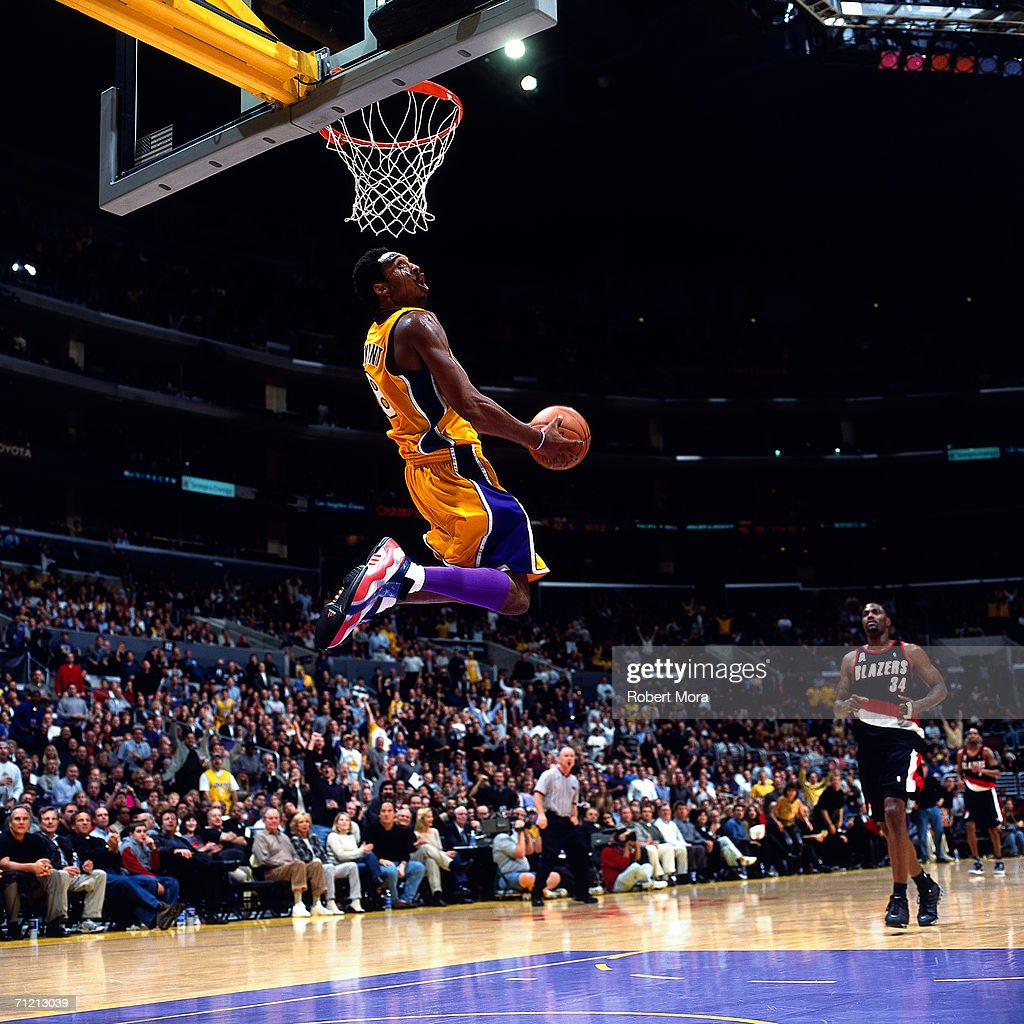 Blazers Vs Lakers: Kobe Bryant Of The Los Angeles Lakers Elevates For A Dunk