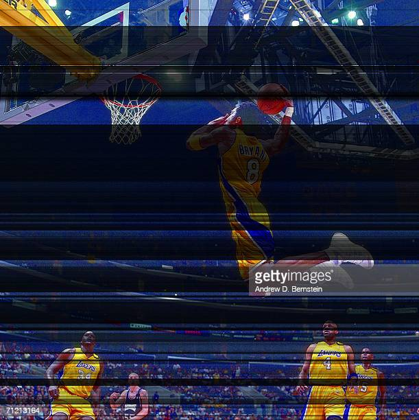 Kobe Bryant of the Los Angeles Lakers elevates for a dunk against the Sacramento Kings during a 2000 NBA game at Staples Center in Los Angeles...