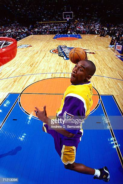 Kobe Bryant of the Los Angeles Lakers elevates for a dunk during the 1997 All Star Slam Dunk Contest February 8, 1997 at the Gund Arena in Cleveland,...