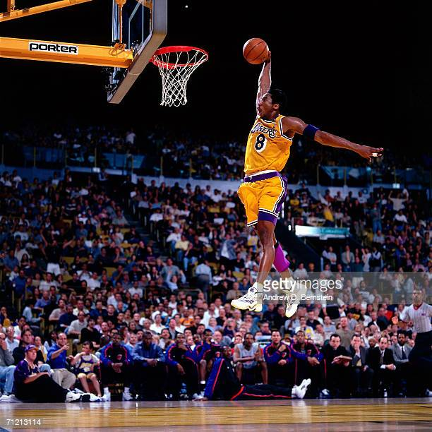Kobe Bryant of the Los Angeles Lakers elevates for a slam dunk at The Great Western Forum in Inglewood, California. NOTE TO USER: User expressly...