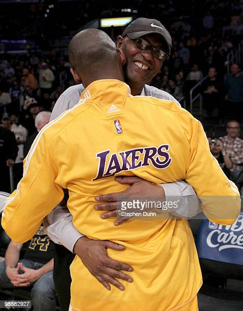 Kobe Bryant of the Los Angeles Lakers embraces his father Joe Jelly Bean Bryant before playing the Oklahoma City Thunder during Game Two of the...