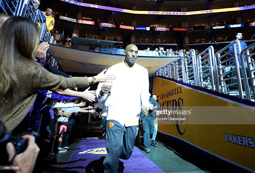 Kobe Bryant #24 of the Los Angeles Lakers enter the basketball court before the start of the basket ball game against the Indiana Pacers during the basketball game at Staples Center November 29, 2015, in Los Angeles, California. Bryant announced the he will retire from the NBA at the end of the 2015-16 season.