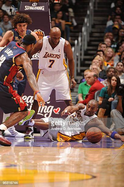 Kobe Bryant of the Los Angeles Lakers falls to the floor during a game against the Cleveland Cavaliers at Staples Center on December 25 2009 in Los...
