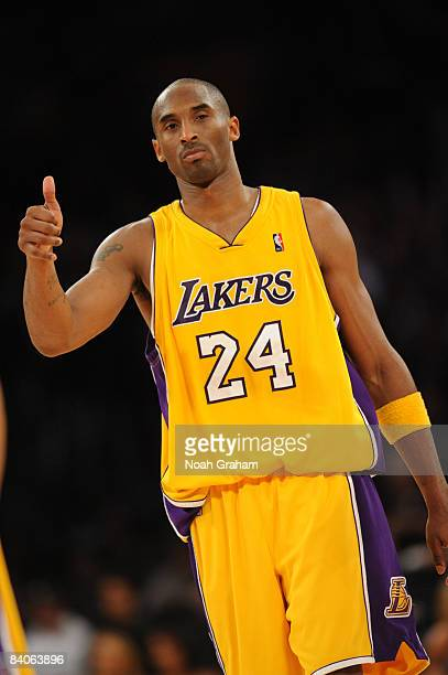 Kobe Bryant of the Los Angeles Lakers gestures during a game against the New York Knicks at Staples Center on December 16 2008 in Los Angeles...