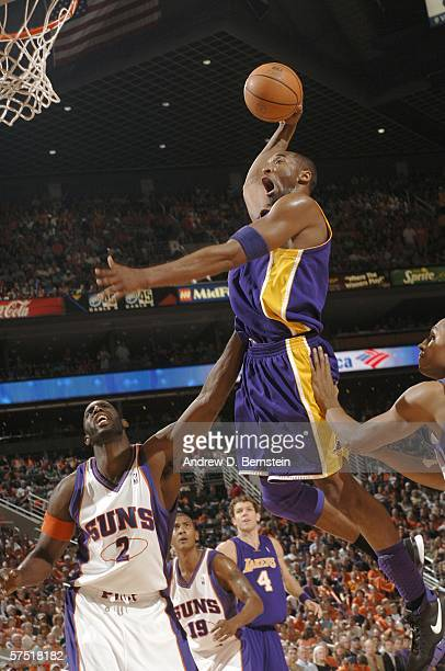 Kobe Bryant of the Los Angeles Lakers gets a slam dunk against the Phoenix Suns in game five of the Western Conference Quarterfinals during the 2006...