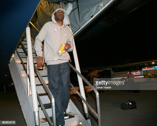Kobe Bryant of the Los Angeles Lakers gets off of the team plane at Oakland International Airport early Monday morning March 24 2008 in Oakland...
