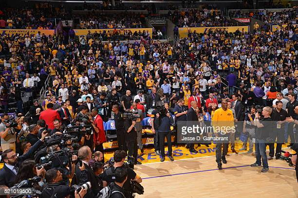 Kobe Bryant of the Los Angeles Lakers gets ready for his last game ever against the Utah Jazz on April 13 2016 at STAPLES Center in Los Angeles...