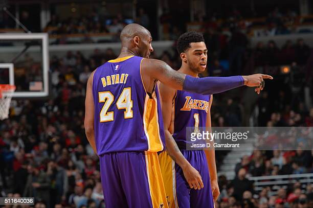 Kobe Bryant of the Los Angeles Lakers gives direction to his teammate D'Angelo Russell against the Chicago Bulls on February 21 2016 at the United...